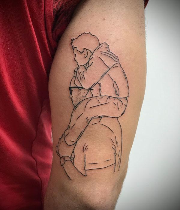 Tatuaje línea fine silueta de foto en estudio de tattoo en Cartagena
